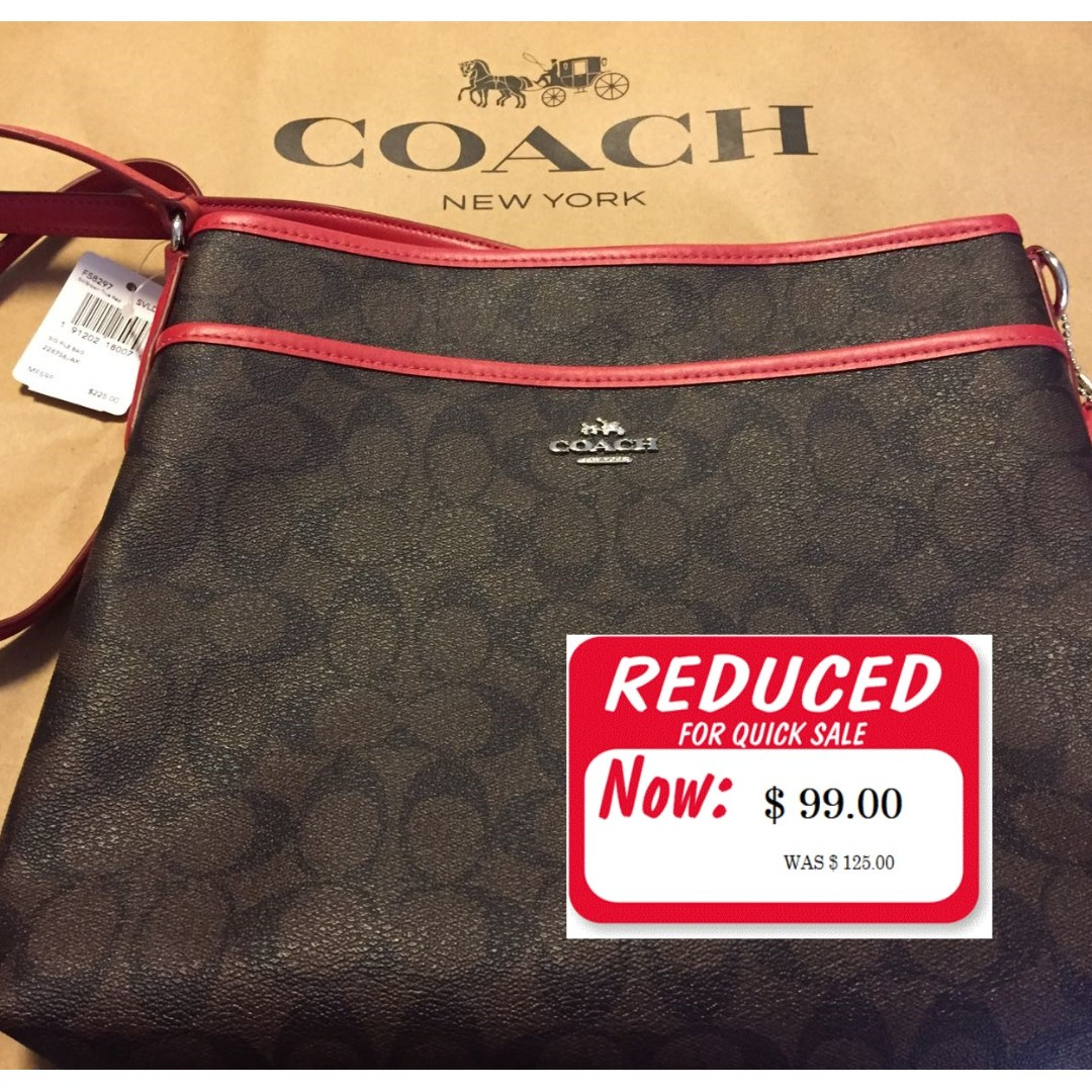 Coach Bag - New with Tags - Authentic Signature Canvas File Red Strap