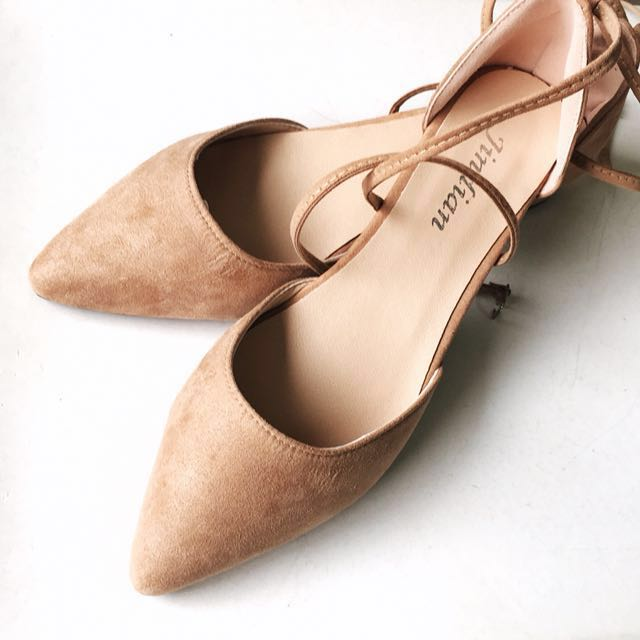 👍Nude Tie-Up Strappy Pointed Toe Shoes