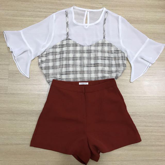 (One set) Flared checkered shirt + Maroon high waist pants