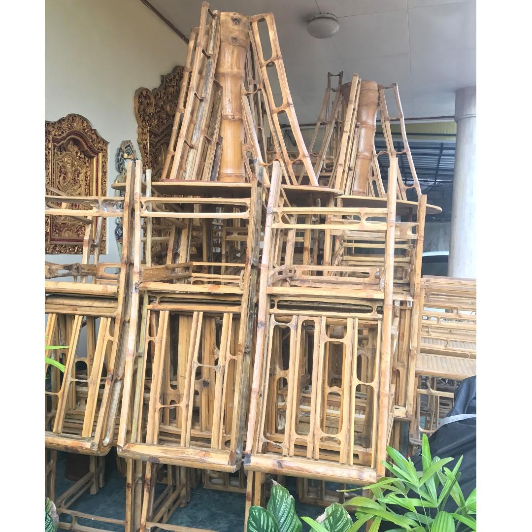Paket Furniture Kursi Meja Bambu Bamboo Ex Restoran Cafe Perabotan