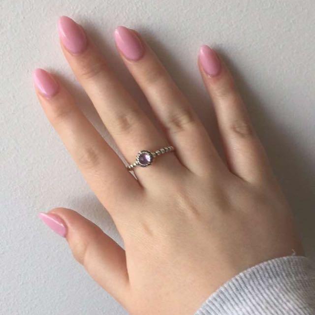 Pandora silver amethyst birthstone ring