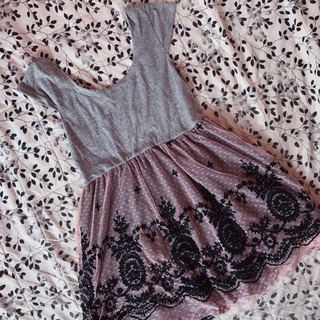 Pink & Gray Dress