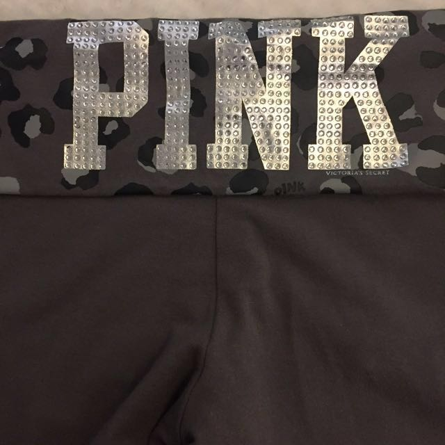 PINK Jeweled Fold-Over Yoga Pants - Medium