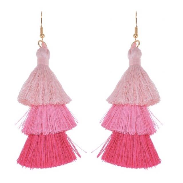 Pink Ombre Tassel Earrings