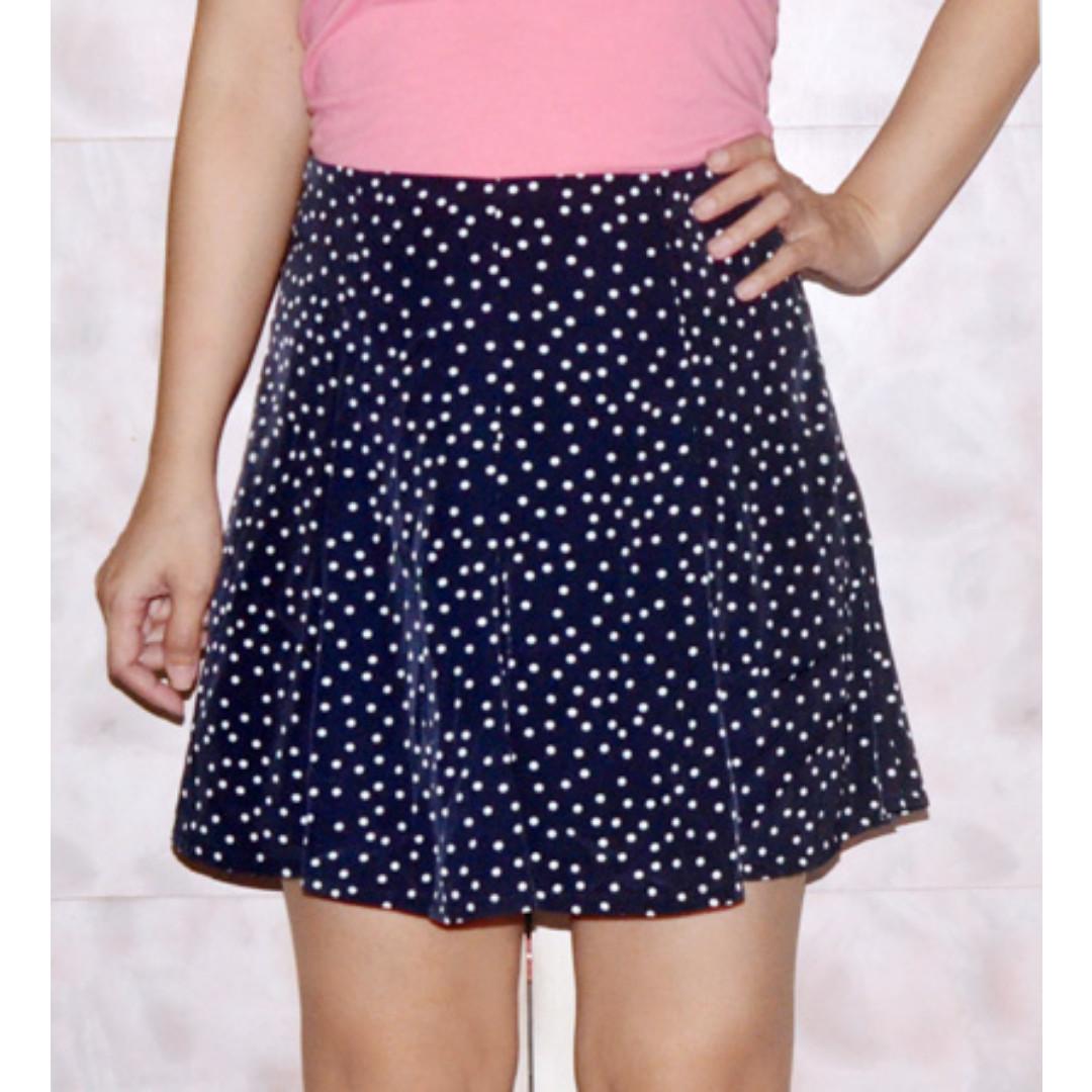 Polka Print Skater Skirt