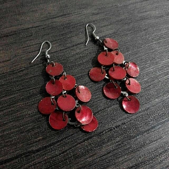 Boho Red Earrings