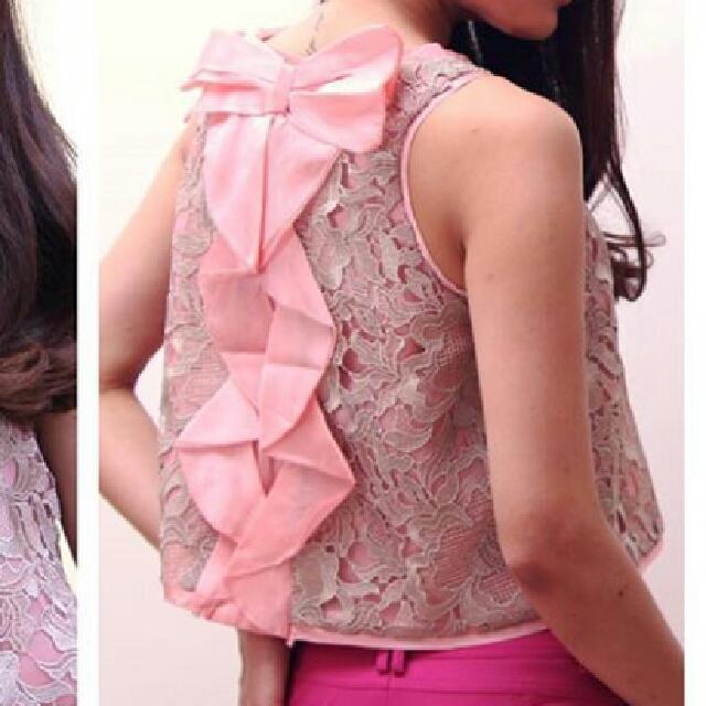 Ribbon Pink Crop Top
