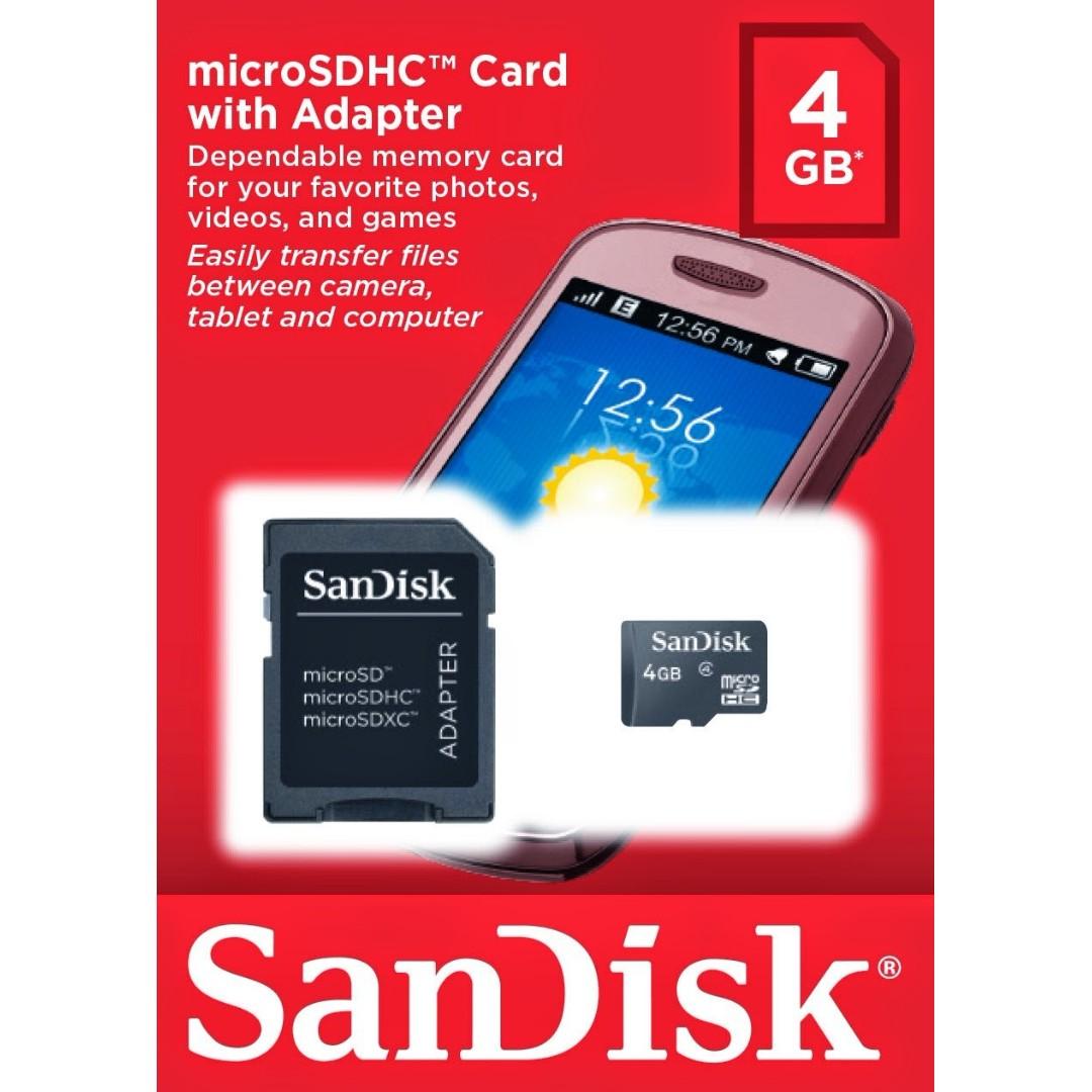 Sandisk microSD 4G 4GB microSDHC 記憶卡+SD轉卡+卡盒