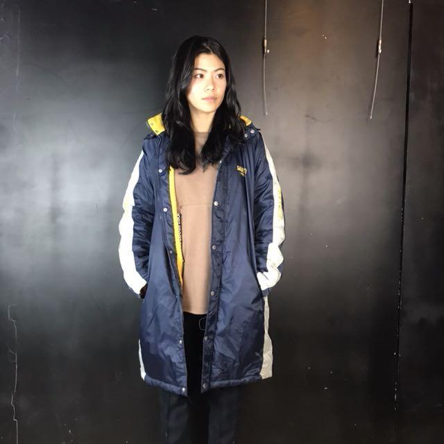 第二件六折*古著Saucony藍灰黃拼色長版運動外套