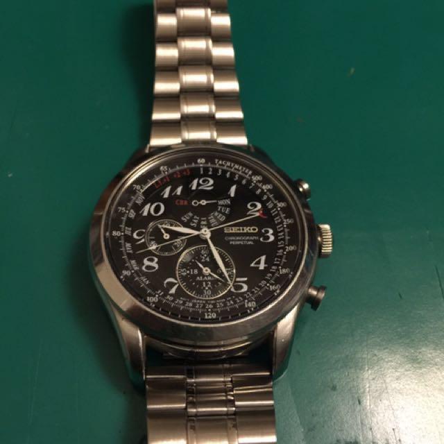 SEIKO正品精工大錶徑46mm雙時區鬧鐘錶。