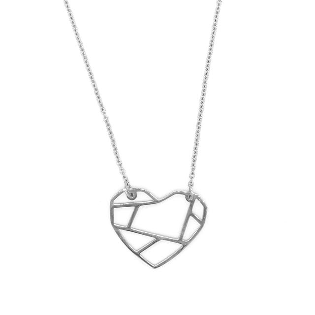 Silverworks Origami Heart Necklace