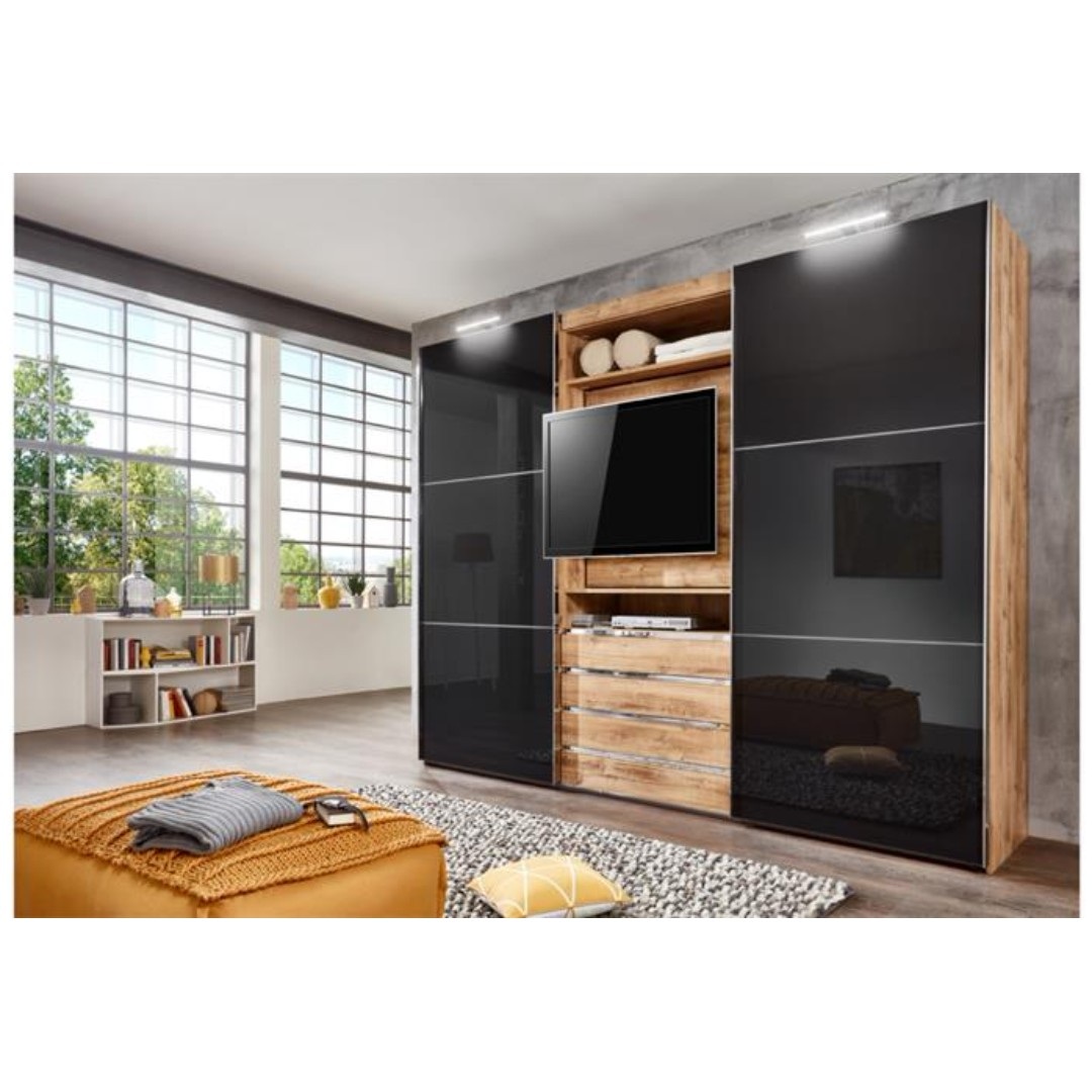 Bedroom Sliding Wardrobe With Tv Unit - Wardobe Pedia