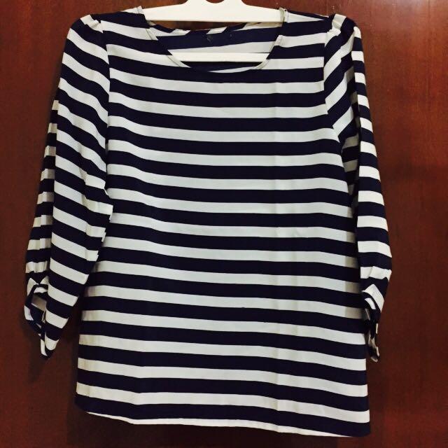 Stripes blouse navy