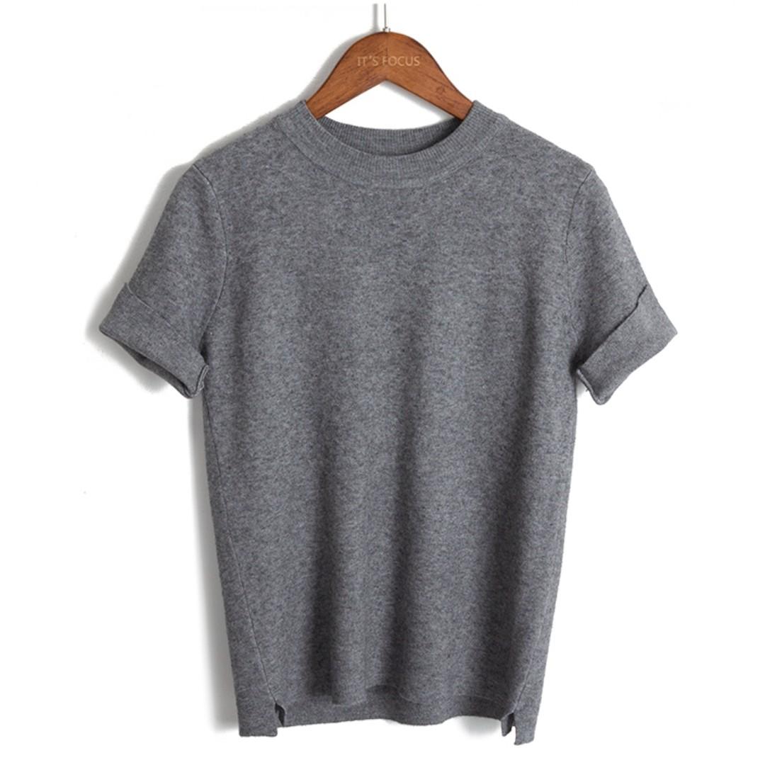 休閒短袖针織衫女寬鬆顯瘦纯色百搭T恤薄毛衣秋上衣