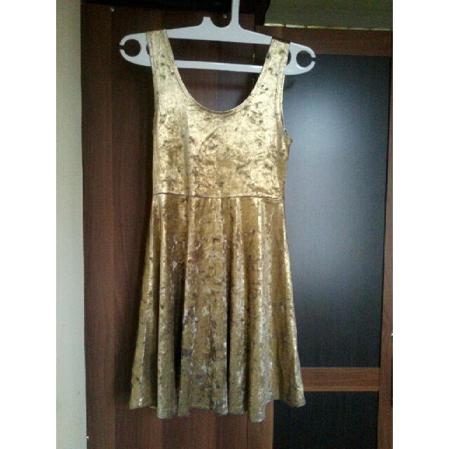 Topshop Dress Gold Suede