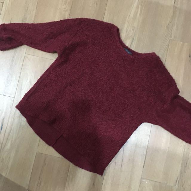 Topshop Maroon Wool Sweat