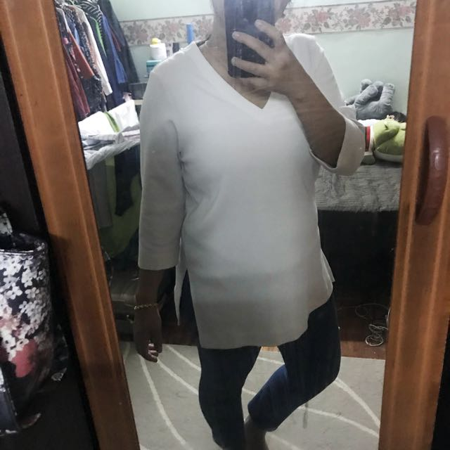 Uniqlo White Side Slit Top