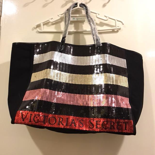 Victoria's Secret Black Shimmer Large Tote Bag