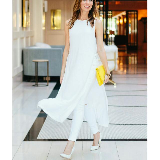 8fd66f4e White Side Slits Long Tunic Top, Women's Fashion, Clothes, Tops on ...