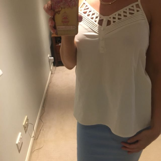 White loose fitting top