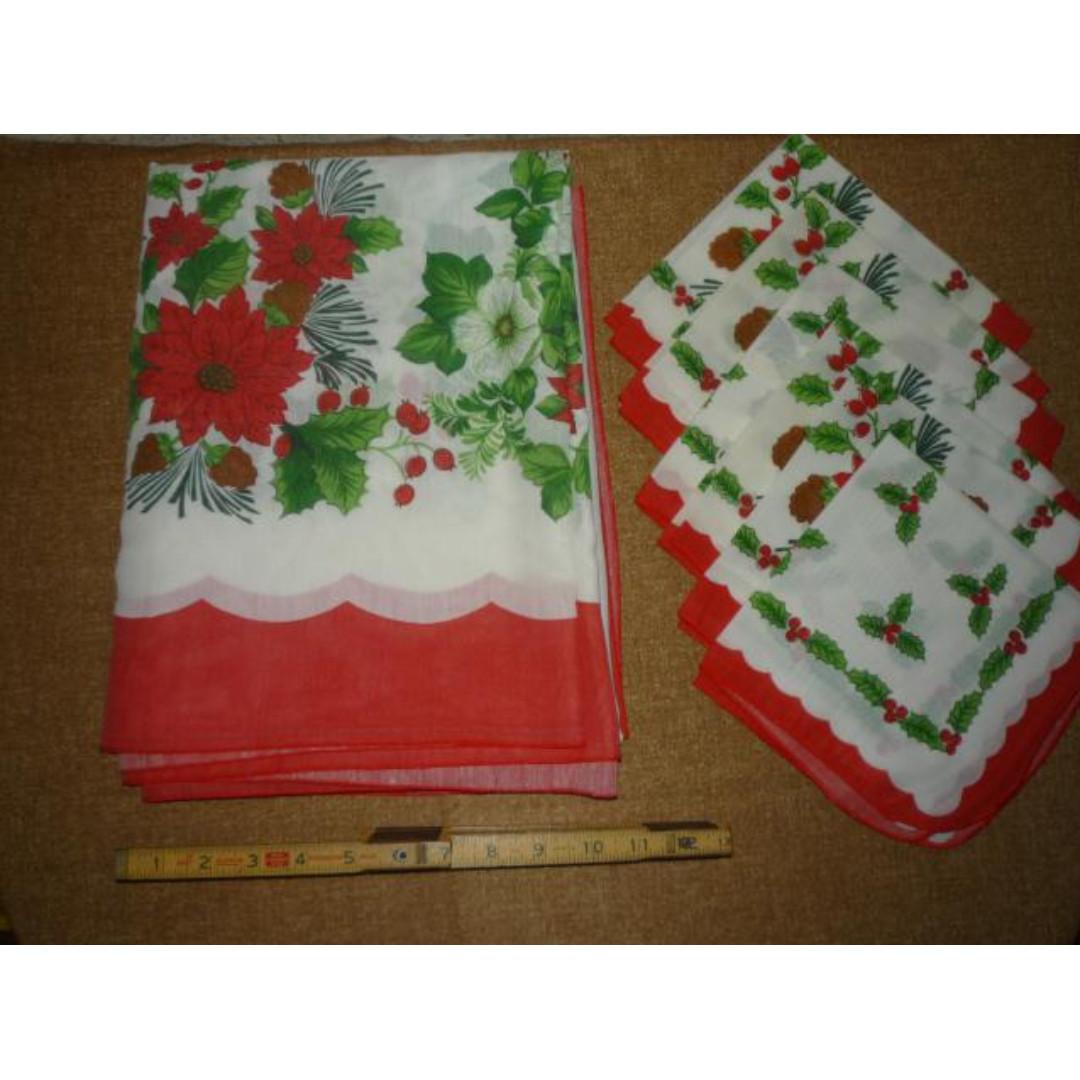 Xmas decor: poinsettia/holly tablecloth and table napkins