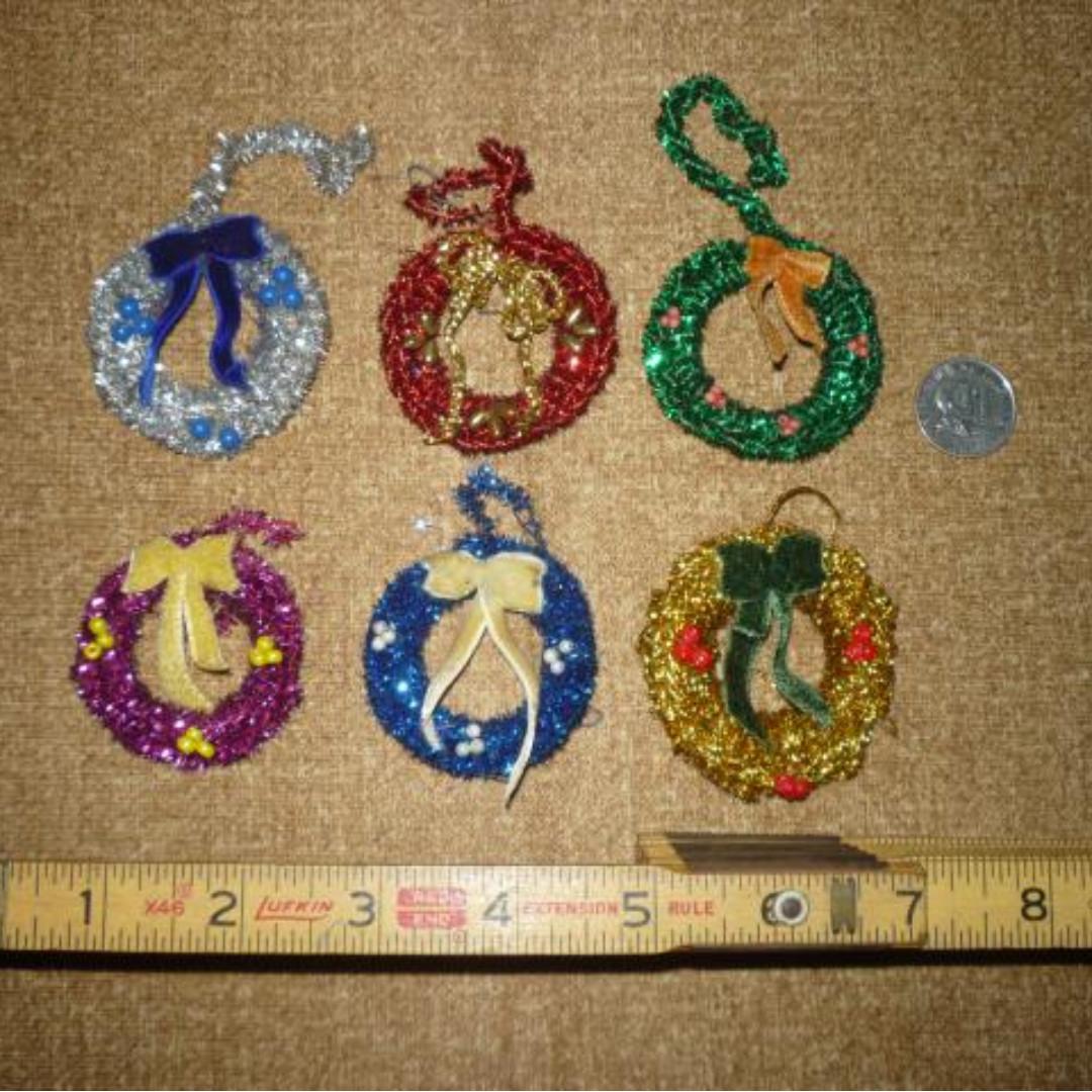 Xmas decor: tinsel wreaths tree ornaments