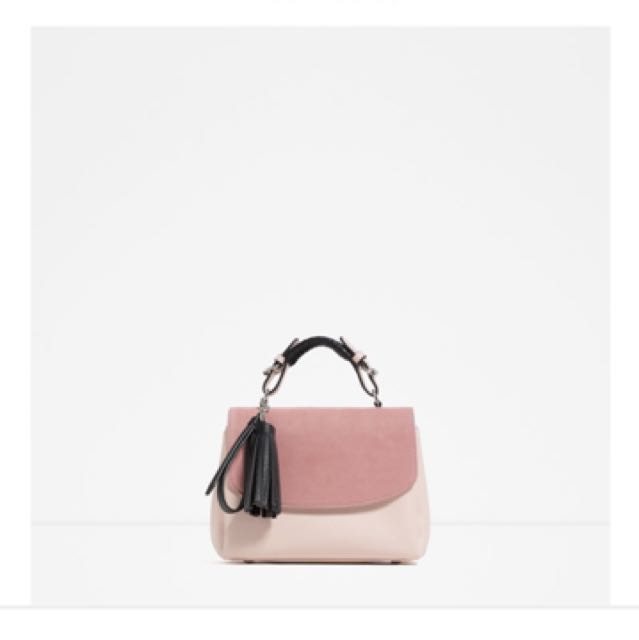 Zara粉色肩背包