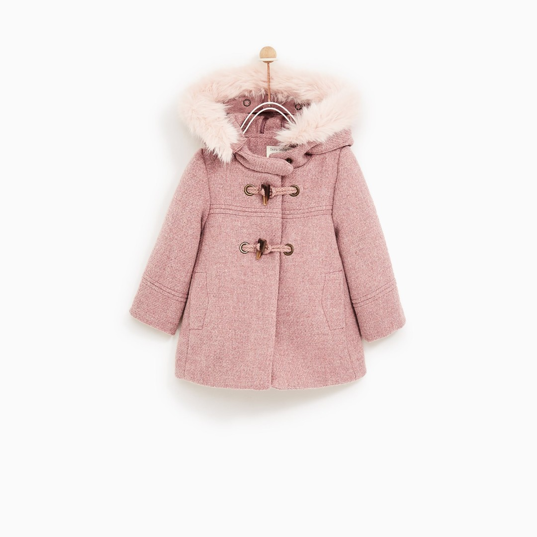 896a86682 ZARA BABYGIRL OUTERWEAR TRENCH COAT WITH FAUX FUR HOOD
