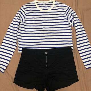 UNIQLO blue & white stripes sweater