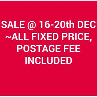 SALE@16-20th Dec~All Fixed Price, postage fee included