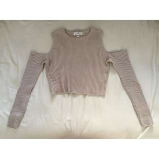 Missguided Cold Shoulder Long Sleeve Crop Top