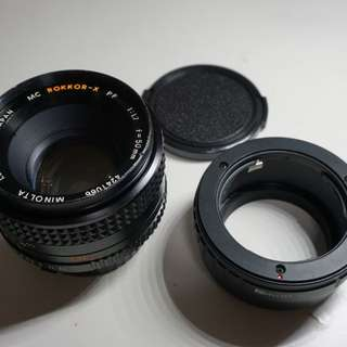 minolta md rokkor x 50mm f1.7 vintage lens with md to e mount adapter