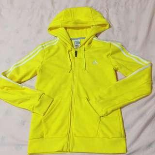 Adidas 亮黃色 運動綿外套