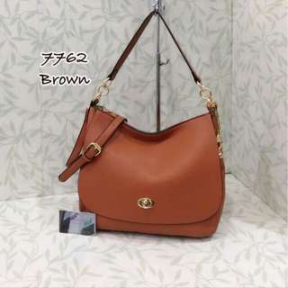 Coach Hobo Turnlock Bag Brown Color