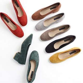 ɴᴇᴡ 12 / 17✨ ░ LIZDASHOP / 韓國淺口粗跟絨面加絨人氣奶奶鞋大碼女鞋#058