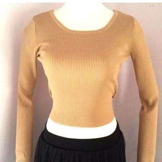韓國 時尚簡約 氣質 修身 百搭 可雙向穿 長帶蝴蝶結 針織上衣 僅一件