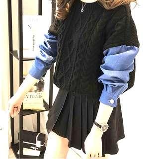 韓國超夯 時尚 簡約潮流 撞色 拼接藍色單寧袖 針織毛衣 僅一件