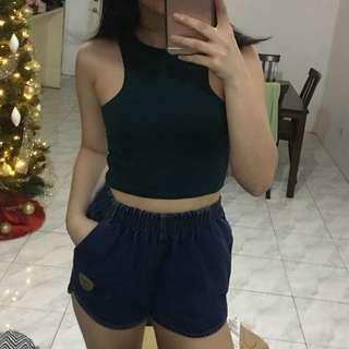 Green Cropped Top (plus denim shorts) | S-Semi Large