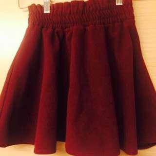 #我的女裝可超取#酒紅色 百摺 短裙 毛呢料