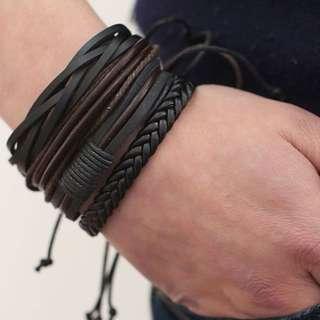 All black leather bracelet set of 4