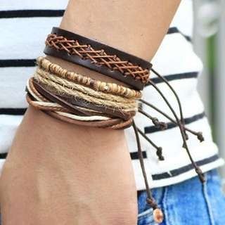 Men bracelet cuff set of 4