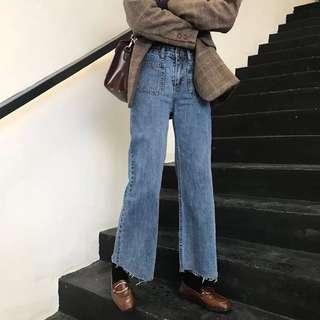 ɴᴇᴡ 12 / 17✨ ░ LIZDASHOP / 韓版復古高腰撕邊牛仔褲寬鬆百搭闊腿褲休閒九分褲#9631412