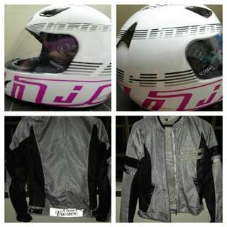 Woman rider jacket and helmet