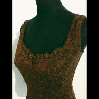 Brown Lace Corset Style Sleeveless Top