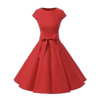 Red 1950's style dress (SMALL)