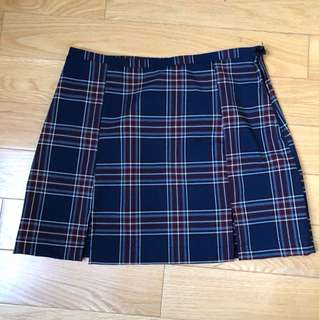 Brandy Melville Slits Plaid Skirt