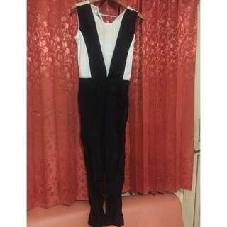 Jumpsuit panjang black and white