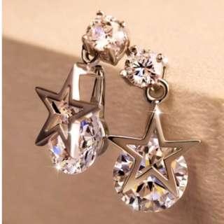 ❀ 潔西卡❤購物 ❀(現)韓版 五芒星 鑽石永恒星芒耳環 925銀