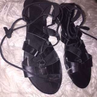 Rubi Shoes tie up sandals.