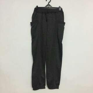 鐵灰棉質彈性長褲